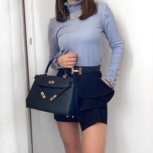 Zara Jewel Button Knit Sweater Ruffle Baby Blue